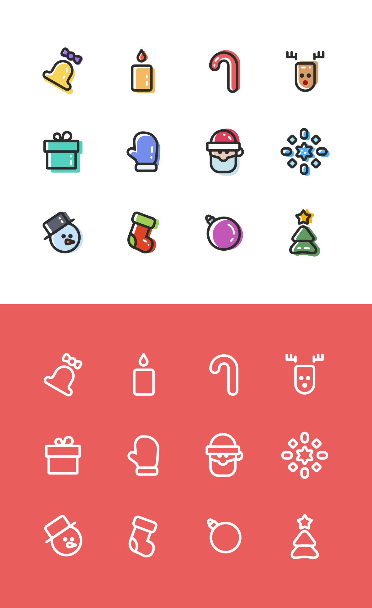 线性icon mbe风格图标 新年 圣诞节 鹿 蜡烛 礼物源文件下载